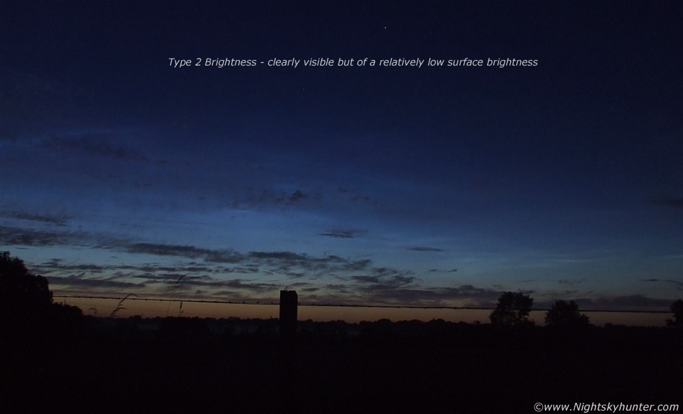 Type 2 Brightness - Clearly visible against twilight with a relatively low surface brightness